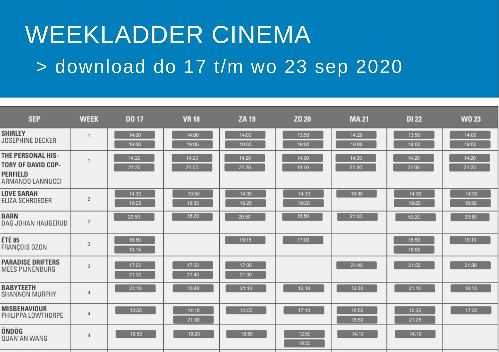 Cinema weekfolder
