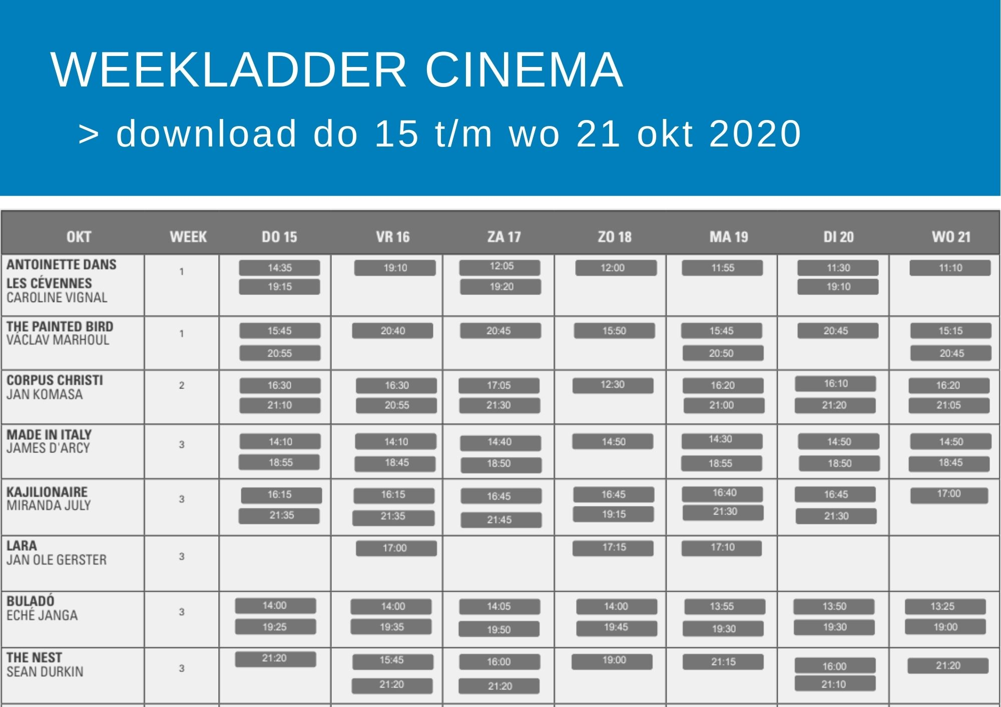 Cinema weekfolder